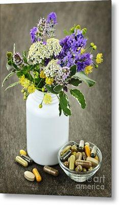 Herbal Medicine And Plants Metal Print by Elena Elisseeva