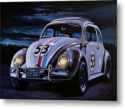 Herbie The Love Bug Painting Metal Print by Paul Meijering