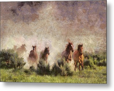 Metal Print featuring the painting Herd Of Wild Horses by Georgi Dimitrov