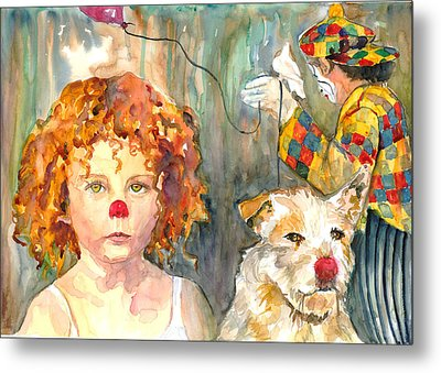 Metal Print featuring the painting Here Comes The Clowns by P Maure Bausch