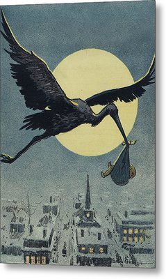Here Comes The Stork Circa Circa 1913 Metal Print