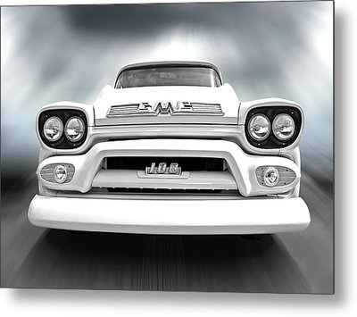 Here Comes The Sun - Gmc 100 Pickup 1958 Black And White Metal Print by Gill Billington