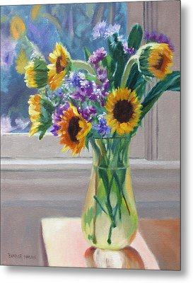 Here Comes The Sun- Sunflowers By The Window Metal Print