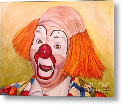 Watercolor Clown #9 Herky The Clown Metal Print by Patty Vicknair