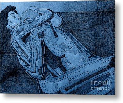 Heroes In Blue Drawing  Metal Print