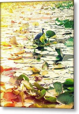 Heron Among Lillies Photography Light Leaks Metal Print