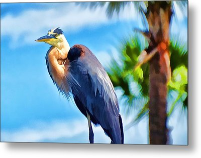 Metal Print featuring the photograph Heron And Palms by Pamela Blizzard
