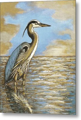 Metal Print featuring the painting Heron At Bay by VLee Watson