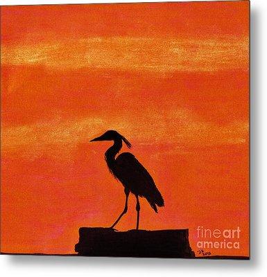 Heron - At - Sunset Metal Print