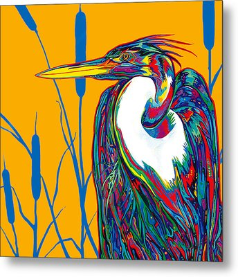 Heron Metal Print by Derrick Higgins