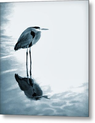 Heron In The Shallows Metal Print