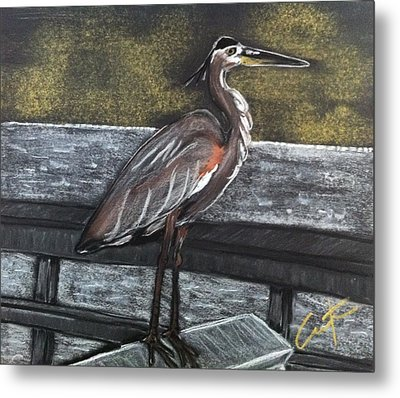 Heron On Hunting Island Fishing Dock Metal Print