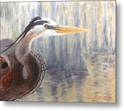 Metal Print featuring the painting Heron by Stan Tenney