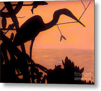 Metal Print featuring the drawing Heron Sunset by D Hackett