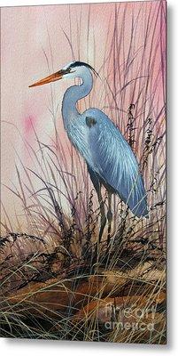 Herons Evening Shore Metal Print by James Williamson