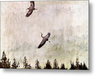 Metal Print featuring the photograph Herons In Flight Monotone by Peggy Collins