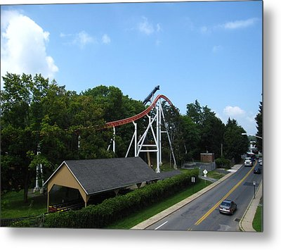 Hershey Park - Great Bear Roller Coaster - 12124 Metal Print by DC Photographer