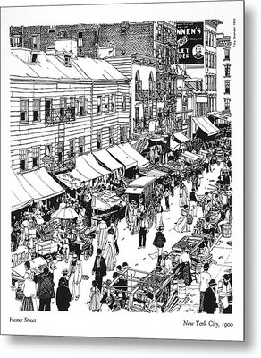 Metal Print featuring the drawing Hester Street by Ira Shander