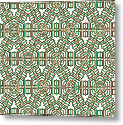 Hexagon And Square Pattern Metal Print by Jozef Jankola