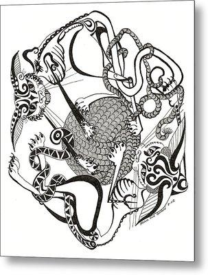Hexagon Cats Metal Print by Melinda Dare Benfield