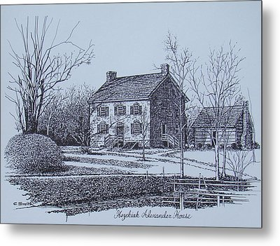 Hezekiah Alexander House Etching Metal Print by Charles Roy Smith