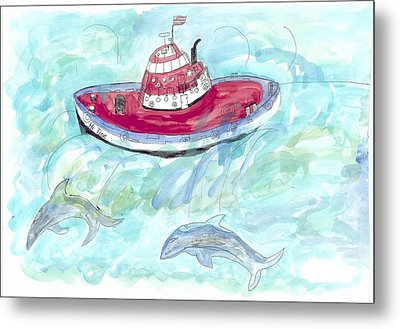 Metal Print featuring the painting Hi Tide by Helen Holden-Gladsky
