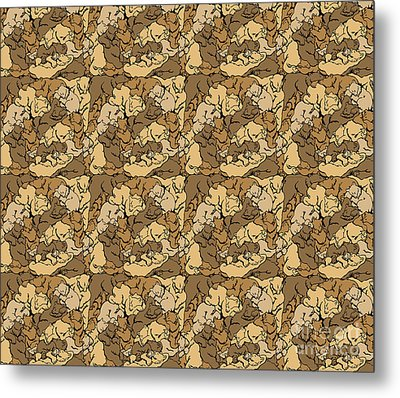 Hibernation Bedding Brown Metal Print