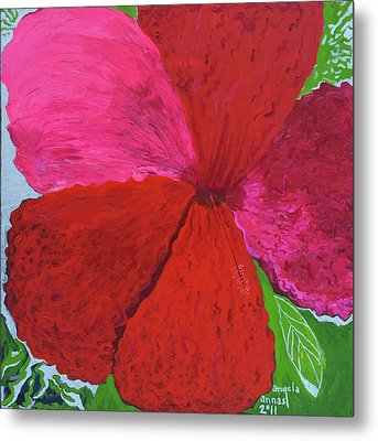 Hibiscus Explosion Metal Print by Angela Annas