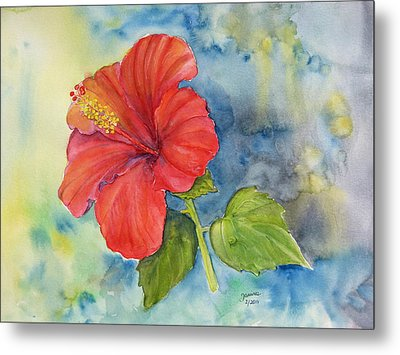 Metal Print featuring the painting Hibiscus  by Janina  Suuronen