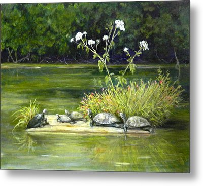 Metal Print featuring the painting Hicks' Turtles by Sandra Nardone