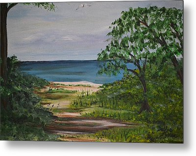 Metal Print featuring the painting Hidden Beach by Debbie Baker