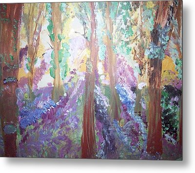 Metal Print featuring the painting Hidden Forest Fairies by Judith Desrosiers