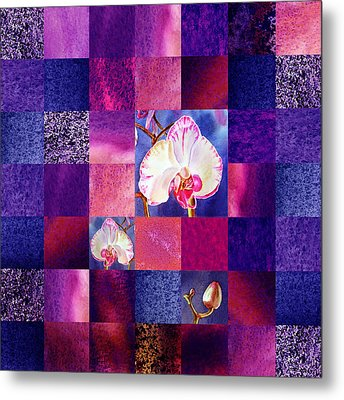 Hidden Orchids Squared Abstract Design Metal Print