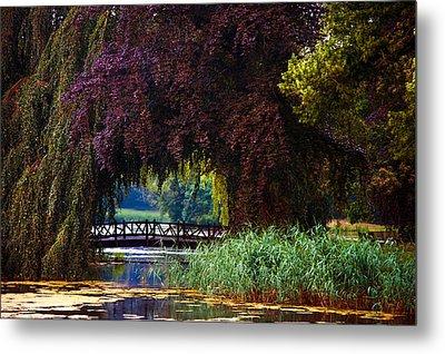 Hidden Shadow Bridge At The Pond. Park Of The De Haar Castle Metal Print by Jenny Rainbow
