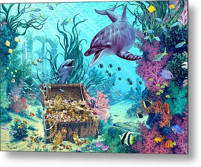 Hide And Seek Dolphins Metal Print by Steve Read