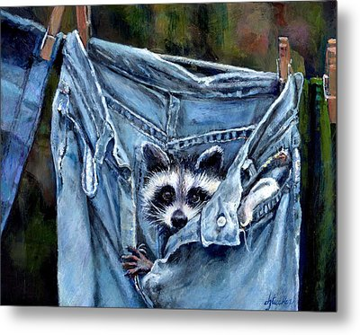 Hiding In My Jeans Metal Print by Donna Tucker