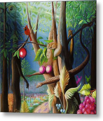Metal Print featuring the painting Hiding In The Garden. by Gene Gregory
