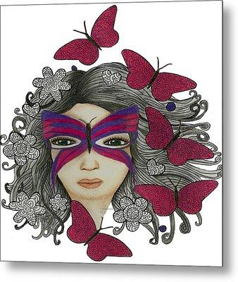 Hiding Me Pencil Drawing By Saribelle Rodriguez Metal Print by Saribelle Rodriguez