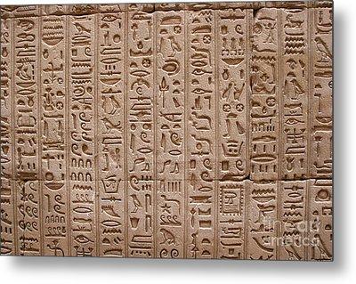 Hieroglyphs At The Temple Of Philae Metal Print by Stephen & Donna O'Meara