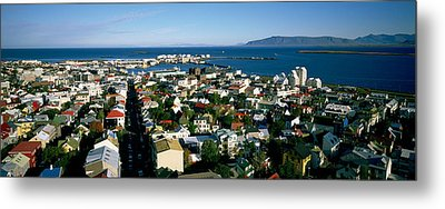 High Angle View Of A City, Reykjavik Metal Print by Panoramic Images