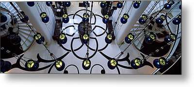 High Angle View Of A Hotel Lobby, W Metal Print by Panoramic Images