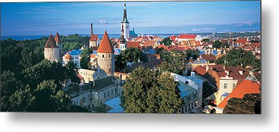 High Angle View Of A Town, Tallinn Metal Print by Panoramic Images