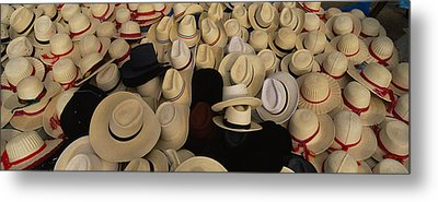 High Angle View Of Hats In A Market Metal Print by Panoramic Images