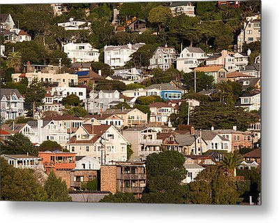 High Angle View Of Houses In A Town Metal Print