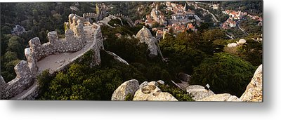 High Angle View Of Ruins Of A Castle Metal Print