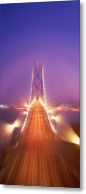 High Angle View Of Suspension Bridge Metal Print