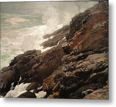 High Cliff Coast Of Maine 1894 Metal Print by Philip Ralley