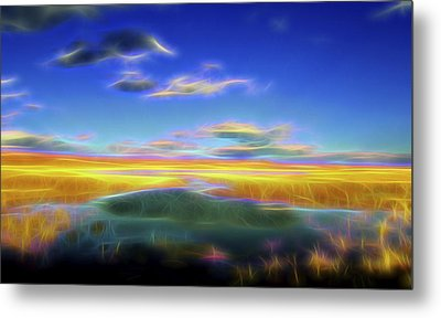 Metal Print featuring the digital art High Desert Lake by William Horden