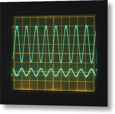 High Frequency Sine Waves On Oscilloscope Metal Print by Dorling Kindersley/uig