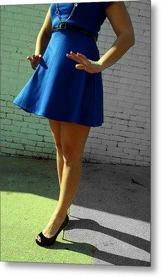High Heels And A Blue Skirt Metal Print